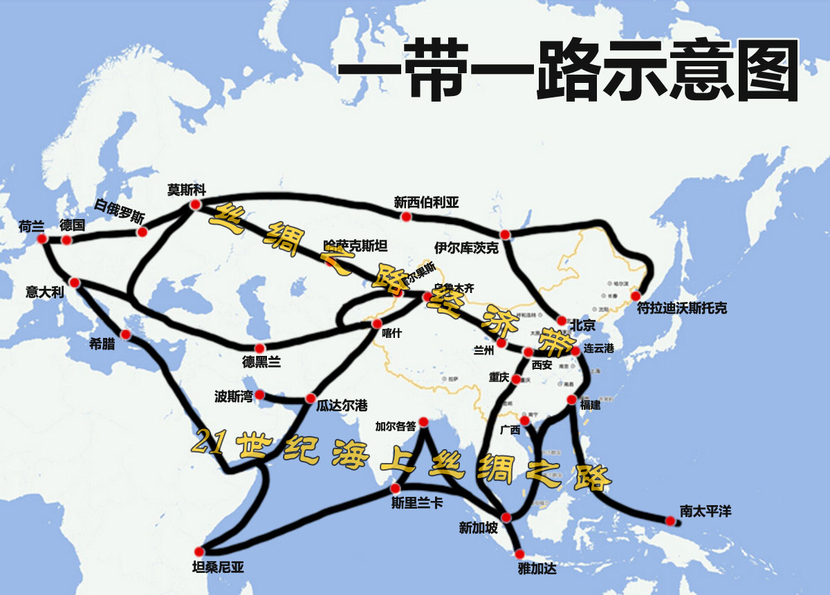 中国地图背景一带一路